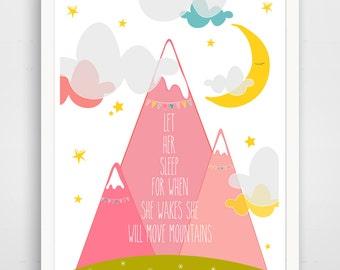 Let Her Sleep Print, Purple Pink  Nursery Decor, Baby Wall Art