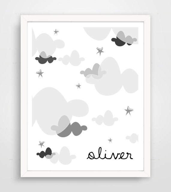 Black And White Nursery Wall Decor : Cloud print nursery decor black and white
