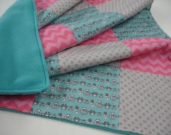Manly Owls Patchwork Fleece Minky Crib Blanket 24 x 37 READY TO SHIP On Sale