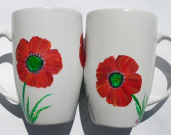 Poppy Cups Hand Painted Poppies Mugs Set of 2
