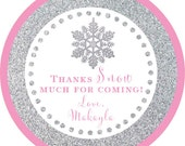 Winter Wonderland Silver Pink Glitter Snowflake sticker label / cupcake topper / thank you tags for birthday party, shower, PERSONALIZED