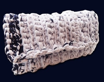 Eco-friendly Chunky Crochet Knit Boho Chic Casual Clutch Purse White and Black Marble Look