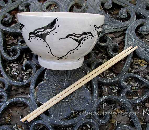 Custom rice bowl ready to ship poppy bowl poppies grey and black gray pottery bowl