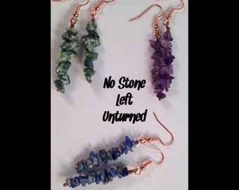 3 pairs of chip bead earrings, Lapis, Amethyst and Green Tree Agate