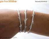Valentines Day Sale Sterling Silver Twig Cuff Bracelet | Stacking Bracelets| Nature Inspired Braclets