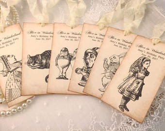 Alice in Wonderland Tags Personalized Favor Tags Assorted Set of 6