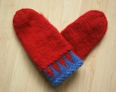 Hand-knit Icelandic wool mittens -- red with blue design