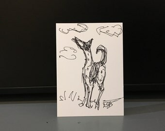 As High As the Clouds, Podenco Ink Drawing