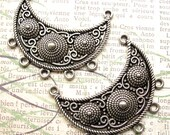 Silver Crescent Moon Multi Strand Pendant Collars - Set of 2 - Bib Pendant Necklace Bars Moon Connectors (SFD0032)