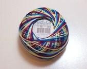 Tatting Thread, Lizbeth Size 10 Cotton Crochet Thread Confetti Color number 105, Variegated Blue Thread