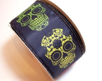 Halloween Ribbon, Skulls Wired Fabric Ribbon 2 1/2 inches wide x 25 yards, Full Bolt of Lion Brand Muertos Ribbon
