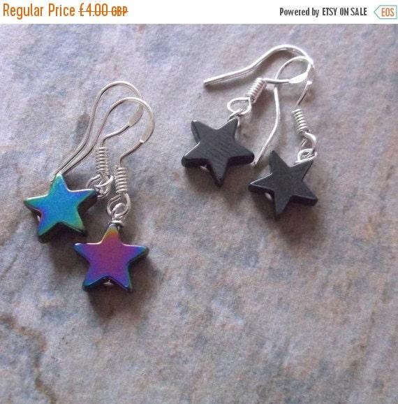 September Offer Rainbow or Hematite Star Drop Earrings