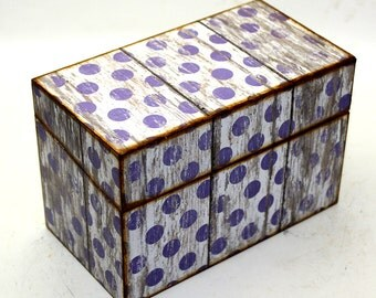 Wood Recipe Box Faux Barn Wood Large Purple Polka Dots Fits 4x6 Recipe Cards