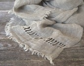 Pure linen scarf raw style. Hand-embroidered. Spring summer autumn winter fashion. Light weight.
