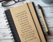Gift for Boyfriend Gift for Girlfriend Journal Notebook I Carry Your Heart Engagement Gift for Couples ee cummings