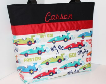 Personalized Diaper Bag Tote . Faster and Red . Regular size . monogrammed FREE .  boy Race Car diaper bag daycare bag