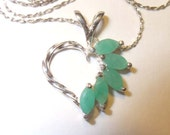 Genuine Emerald Gemstones in Sterling Silver Heart Pendant Necklace