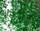 Antique Micro Seed Bead Tubes - Glittery Green