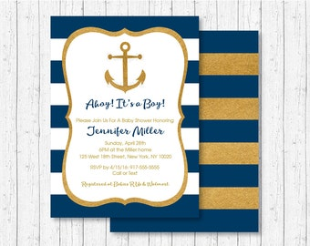 Nautical Baby Shower Invitation / Anchor Baby Shower Invitation / Gold Glitter / Baby Boy Shower / PRINTABLE