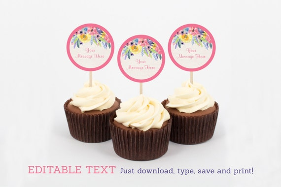 Purple Chevron Elephant Cupcake Toppers Party Favor Tags Editable PDF