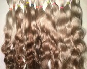 1 oz. (have 2 oz) natural ombré silvery blondes reddish brown  mohair locks for doll hair wigs fairies Blythe Barbie craft supplies