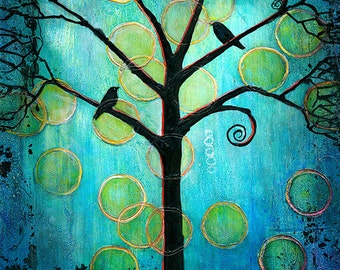 Tree of Life, Something Blue, Teal, Home Decor, Birds Art Print, Turquoise, Twilight Moon | Various Sizes