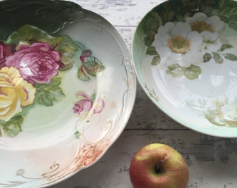 Antique Serving Bowls - Royal Rudolstadt Hand-painted Green Floral