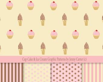 Digital Download Cupcake  Ice Cream Pattern