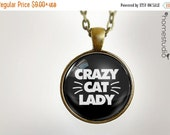 ON SALE Crazy Cat Lady : Glass Dome Necklace gift present by HomeStudio. Round art photo pendant jewelry. Available as Key Ring Keychain