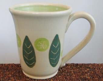 Leaf Pottery Mug, Modern Abstract Stoneware Large Coffee Mug, 18 oz Handmade Mug, Ceramic Mug, Unique Coffee Mug, Wheel Thrown Pottery Mug