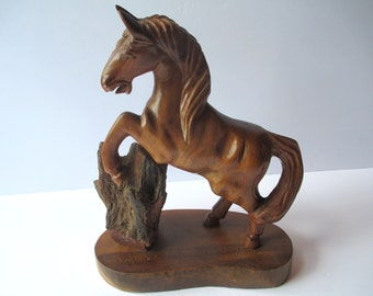 Vintage Horse Carved Wooden Philiippines Figurine