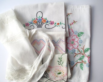 Vintage Linen Tea Towel Runner Apron Collection of Five Hostess With the Mostest