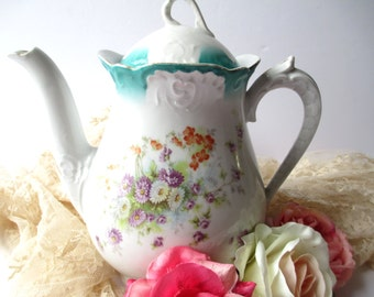 Vintage Floral Coffee Pot - Charming Cottage Chic
