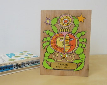 Vintage Cancer Astrological Sign Painted Wooden Plaque