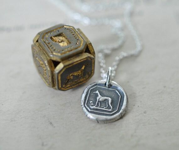 greyhound dog wax seal necklace … fidelity, alertness, affection greyhound dog pendant - fine silver antique wax seal jewelry