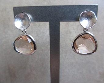 Peach Silver Earrings, Glass, Stud Earrings, Blush, Pink, Pale Orange, Modern, Minimalist, Irisjewelrydesign