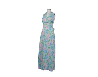 SALE Vintage 70s Dress - 70s Halter Dress - 70s Maxi Dress - Halter Maxi Dress - Blue Pink Green - Pastel Dress - Floral Dress - Halter Dres