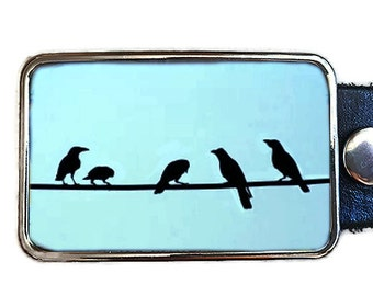 Birds on a Wire Belt Buckle. Womens belt buckles.  Belt buckles for men.  Bird lovers gift!