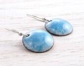 Enamel Earrings, Blue Dangle Earrings, Sky Blue Earrings, Vitreous Enamel, Round, Sterling Silver, Torch Fired, Sterling Silver, #4124-105