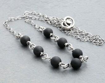 Matte Black Onyx Necklace, Black Gemstone Necklace, Layering Necklace, Wire Wrap Necklace, Black Gemstone Necklace, Sterling Silver, #4692