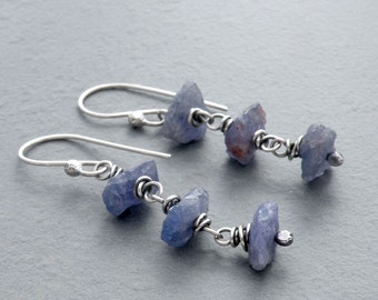 December Birthstone Earrings, Raw Tanzanite Earrings, Tanzanite and Sterling Silver Earrings, Blue Violet Gemstones, Sterling Silver, #4697