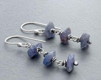 Raw Tanzanite Earrings, Tanzanite Dangle Earrings, Wire Wrapped Tanzanite Earrings, Rough  Violet Blue Stones, Sterling Silver, #4697