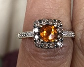 Beautiful yellow topaz citrine rose cut smoky topaz diamond Gold ring size 5