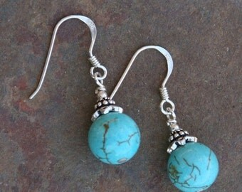 BACK 2 SCHOOL SALE Simple but Elegant Turquoise n Sterling Silver Earrings DeSIGNeR Trendy Lightweight