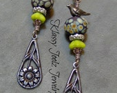 Lampwork Beaded Earrings-Organic Artisan Earrings-Artisan Lampwork Dangle Earrings-Vintaj Brass Earrings-SRAJD-Artisan Beads