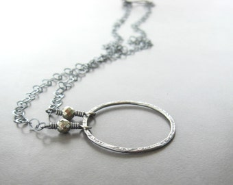 metalwork necklace, silver metalwork necklace, minimalist necklace, silver ring pendant, sterling chain, fine silver ring necklace