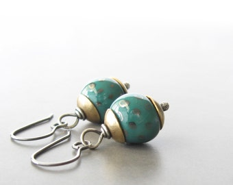 teal dangle earrings, kazuri clay silver brass earrings, rustic dangle earrings, mixed metal, metalwork jewelry