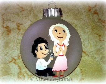 Engaged Couple Gift, Engagement Gift, Custom Hair & Clothing Colors and Styles, Our First Christmas Ornament Hand Painted Original Couple