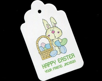 Basket tags etsy personalized easter tags gift tags candy tags favor tags bunny with basket negle Choice Image