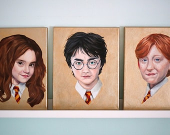 Harry Potter, Hermione Granger and Ron Weasley in Gold, 3 Oil Paintings Portrait Studies 8x10 inches